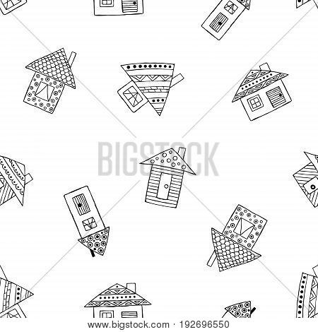 Vector Hand Drawn Seamless Pattern, Decorative Stylized Black And White Childish Houses. Doodle Sket