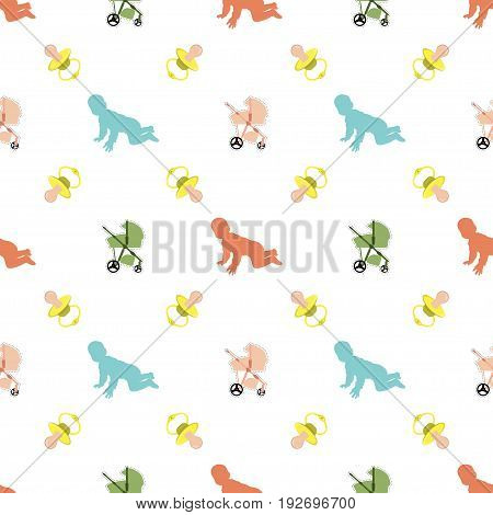 Seamless pattern with baby pacifier and baby carriage
