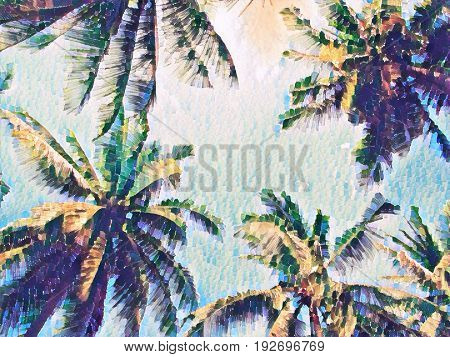 Palm tree crown with green leaves on sunset sky. Coco palm tree top digital illustration. Palm leaf silhouette frame. Vintage poster. Summer travel banner. Exotic island seaside nature background