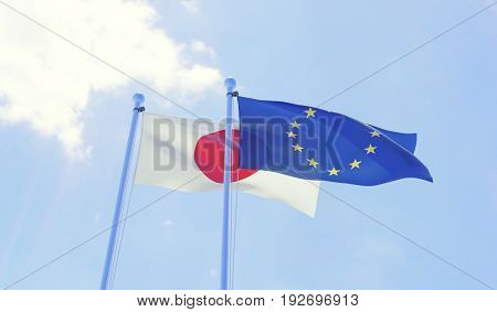 Japan and European Union, two flags waving against blue sky. 3d image