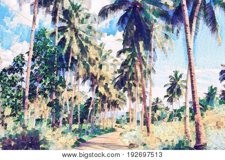 Coco palm tree alley with greenery. Tropical nature digital painting. Exotic vacation banner template. Sunny day and blue sky background. Summer holiday journey. Walking path in green jungle