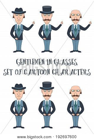 Strict Slender Gentleman in Glasses, Hat and Business Suit Points with His Hand at Your Text or Image. Set of Funny Cartoon Characters for Your Design, Isolated on White Background. Vector