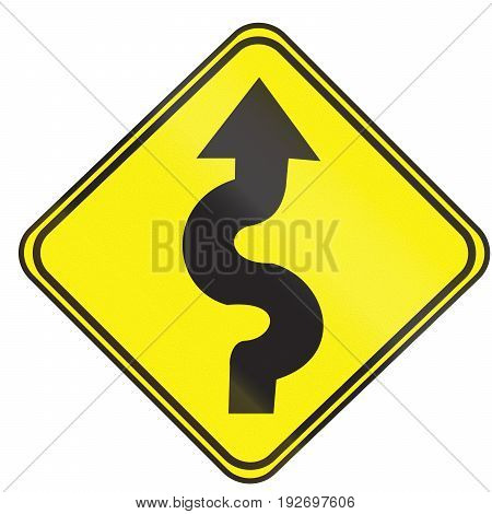 Road Sign Used In Uruguay - Series Of Curves First To Right