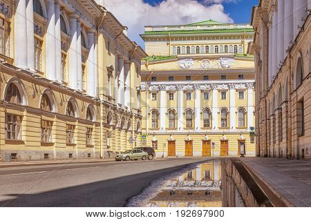 Street Architect Rossi and Alexandrinsky Theater in St. Petersburg Russia