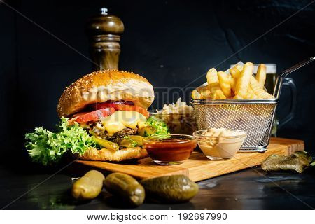 Royal Cheeseburger, Tasty And Delicious Beef Burger Served By Local Restaurant.