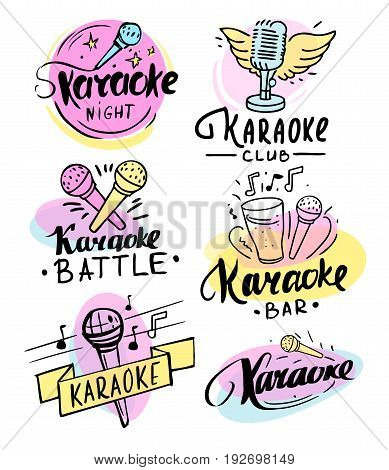 Set of karaoke hand drawn labels, badges and design elements. Vector. Isolated