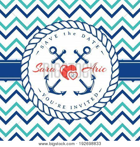 Sea wedding invitation card. Elegant template in nautical style with anchors rope hearts and chevron pattern. Vector illustration in white blue turquoise and red colors.