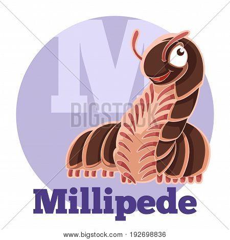 Vector image of the ABC Cartoon Millipede