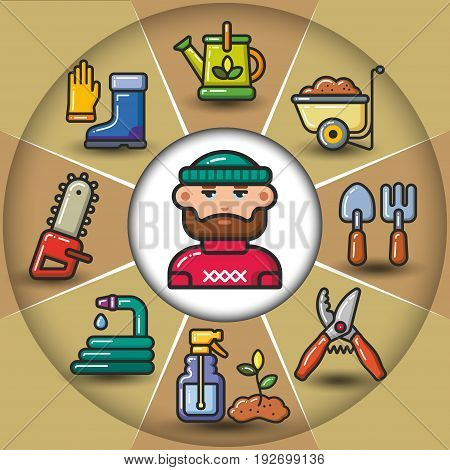 Infographic set of garden tools and man. Vector flat icons colorful illustration.