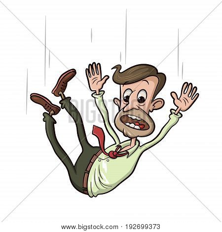 man falling down and screaming, vector cartoon