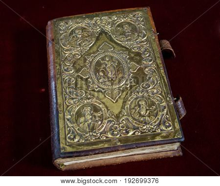 The Holy Bible sitting at the altar of the blessed church at Burgas