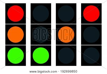 Flat Traffic Light Icons. Traffic Lamps, Semaphore