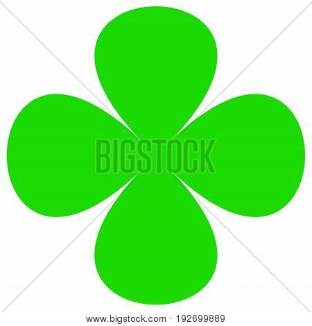 Four-leaf Clover Symbol. Simple Flat Icon For Luck, Lucky Concepts
