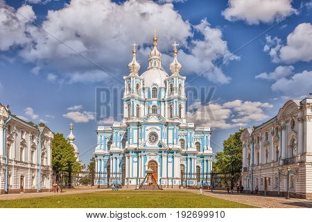 Saint Petersburg Russia - June 16 2017: Smolny Cathedral - Orthodox church of the Smolny convent architect Francesco Bartolomeo Rastrelli