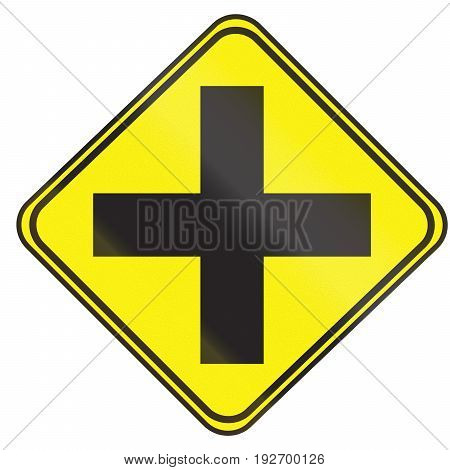 Road Sign Used In Uruguay - 4-way Junction Uncontrolled