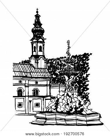 Drawing view of the central square of Salzburg by a fountain, in the old town, sketch, hand-drawn ink graphics vector illustration