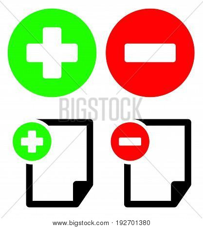 Document Icons With Add, Remove Buttons. Symbol Set