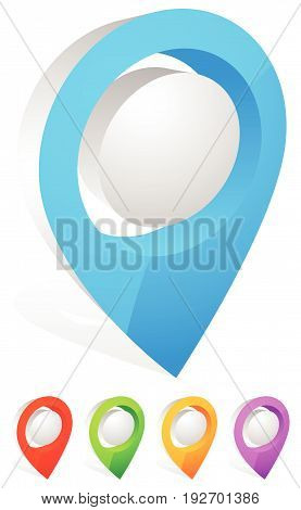 3d map pin map marker. (Address location icon) poster