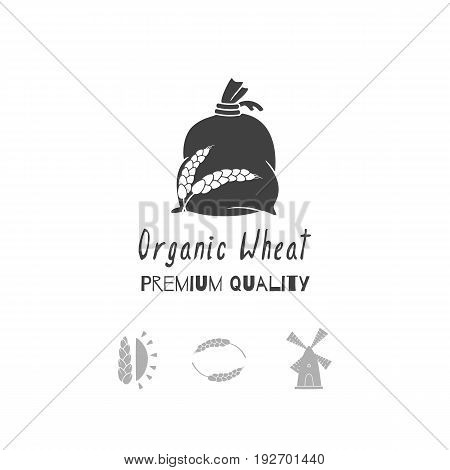 Set of hand drawn silhouettes: wind mill, wheat, sun and flour bag. Logo templates for craft food packaging or brand identity. Vector illustration