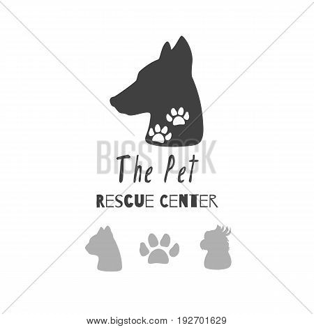 Set of hand drawn silhouettes: heads of dog, cat, parrot and paw print. Logo templates for pet food packaging, pet care products, brand identity etc. Vector illustration