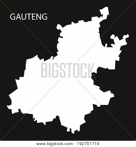 Gauteng South Africa Map Black Inverted Silhouette Illustration