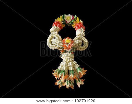 Thai Style Garland Flower Isolated on Black Background