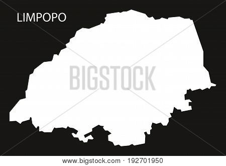 Limpopo South Africa Map Black Inverted Silhouette Illustration