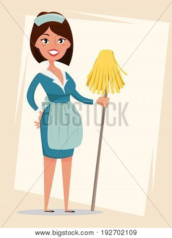 Maid cute smiling girl dressed in classic French maid clothes holding mop. Cartoon character. Cleaning service advertisement. Vector illustration.