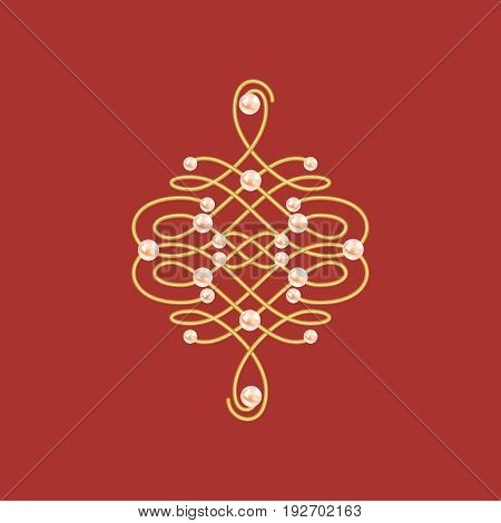 Elegant golden knot sign. Red and golden yellow illustration beautyful calligraphic flourish with pearls. Vector illustration