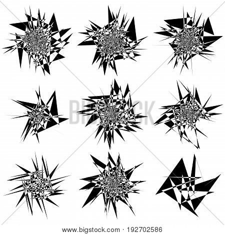 9 Different Edgy, Shattered Shape Set. Abstract Geometric Elements