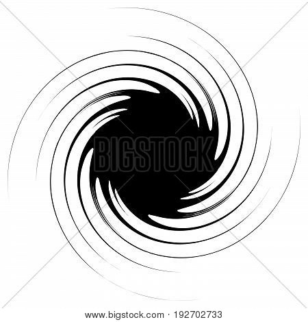 Swirl, Twirl Shape. Abstract Geometric Spiral Isolated On White