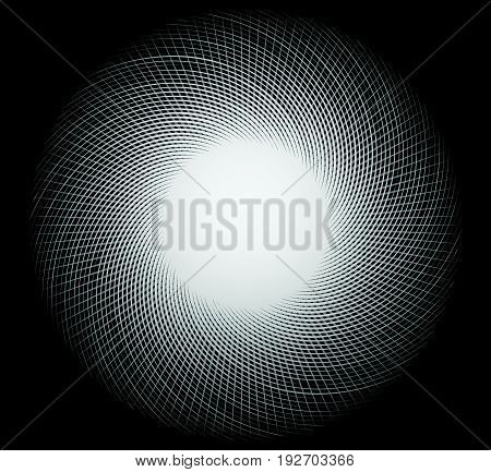 Artistic Element With Radial, Circular Lines. Radiating, Concentric Lines Forming Circular Pattern