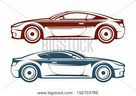 Racing car, vehicle, auto vector illustration isolated on white background