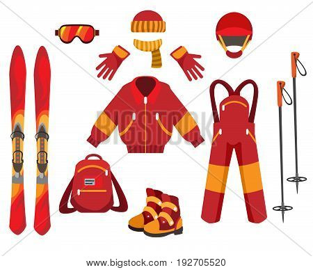 Skiing clothes and equipment isolated on white background. Outdoors Sports vacation ski, jacket and snow masque vector illustration