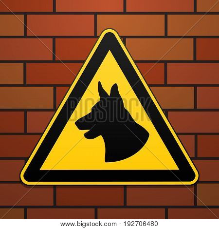 Caution - danger Be aware of dogs The area is guarded by dogs. Warning sign safety. The sign on the brick wall. Vector illustration.
