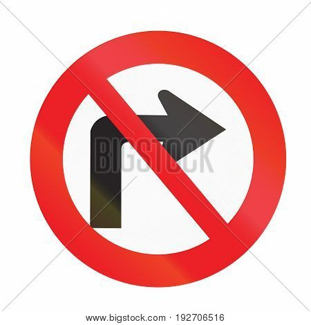 Road Sign Used In Uruguay - No Right Turn
