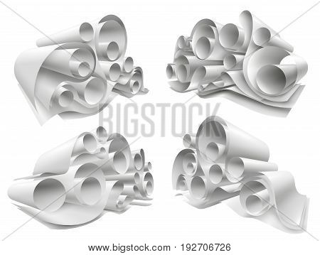 Set of paper rolls from white empty sheets folded in twisted structure 3d mockup isolated vector illustration