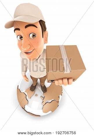 3d delivery man standing on earth illustration with isolated white background