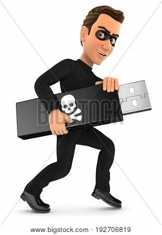 3d thief holding usb key illustration with isolated white background