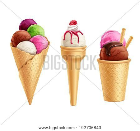 Set of realistic colorful ice cream in waffle cones with berry and chocolate syrup isolated vector illustration