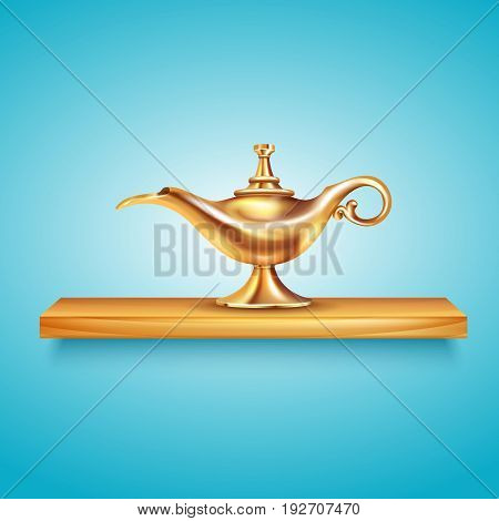 Aladdin lamp shelf composition with cumbersome image of golden vessel on wooden shelf on blue background vector illustration