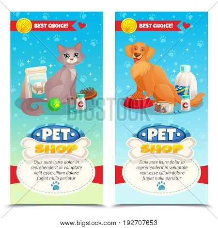 Pet shop vertical banners with cat and dog, feeds, toys, medicines on blue background isolated vector illustration