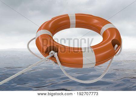 3D Rendered Illustration Of Orange Life Buoy. Sea In Background.