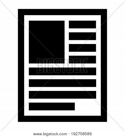 Document, Note, Book, Publication Page Symbol, Icon. Layout Of A Page With Lines Of Text And Left-al