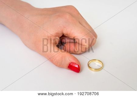Female Hand With Wedding Ring - Divorce Concept