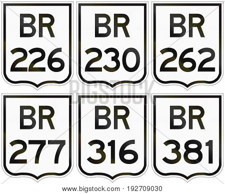 Collection Of Road Shields Of Brazilian Federal Highways