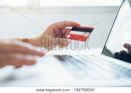 Business Online Shopping Concept. People Shopping And Pay By Credeit Card.