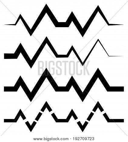Ecg (ekg) Or Generic Beat, Rhythm Lines With 4 Line Style