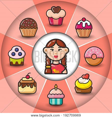 Infographic set of sweet icons and woman. Vector flat icons colorful illustration.