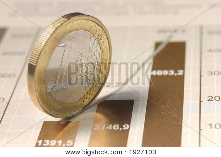 The One Euro Coin Standing On Diagram